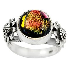 Multi color dichroic glass 925 sterling silver ring jewelry size 6.5 m14473