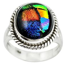 Multi color dichroic glass 925 sterling silver ring jewelry size 7 m14653