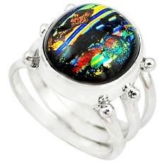 Multi color dichroic glass 925 sterling silver ring jewelry size 7 m14669