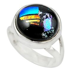 Multi color dichroic glass 925 sterling silver ring jewelry size 6 m14710