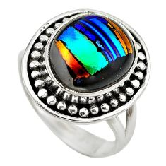 Multi color dichroic glass 925 sterling silver ring jewelry size 8 m14789