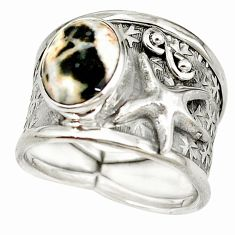 Natural brown septarian gonads 925 silver star fish ring size 7 m16028