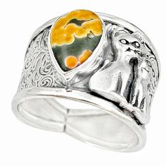 Natural ocean sea jasper (madagascar) 925 silver two cats ring size 8.5 m16083