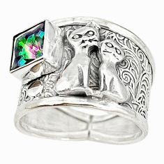 Multi color rainbow topaz 925 sterling silver two cats ring size 9 m16086