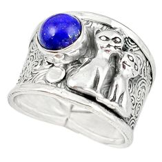 Natural blue lapis lazuli 925 sterling silver two cats ring size 8 m16088