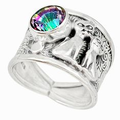 Multi color rainbow topaz 925 sterling silver two cats ring size 7 m16089