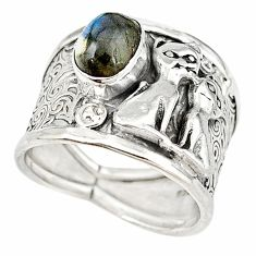 Natural blue labradorite 925 sterling silver two cats ring size 8 m16092