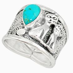 Blue arizona mohave turquoise 925 silver two cats ring size 7.5 m16094