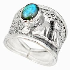 Natural blue labradorite 925 sterling silver two cats ring size 7.5 m16097