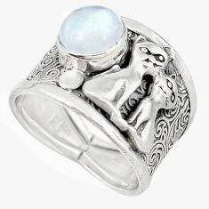 Natural rainbow moonstone 925 silver two cats ring jewelry size 8 m16099