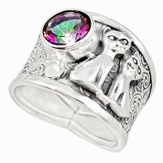 925 sterling silver multi color rainbow topaz two cats ring size 8 m16100