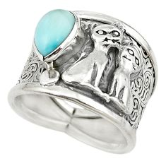 Natural blue larimar 925 sterling silver two cats ring jewelry size 7 m16142