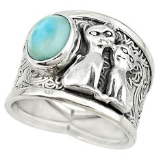 925 sterling silver natural blue larimar two cats ring jewelry size 7.5 m16144