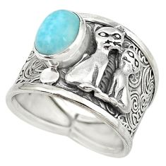 Natural blue larimar 925 sterling silver two cats ring jewelry size 8.5 m16148