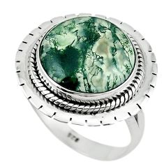 Natural green moss agate 925 sterling silver ring jewelry size 8.5 m1797