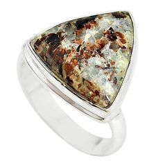 Natural bronze astrophyllite (star leaf) 925 silver ring size 9 m18461