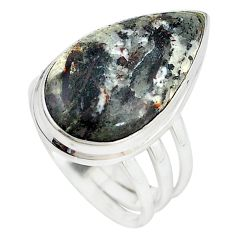 Natural bronze astrophyllite (star leaf) 925 silver ring size 7 m18463