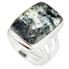 Natural bronze astrophyllite (star leaf) 925 silver ring size 8 m18467