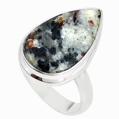 Natural bronze astrophyllite (star leaf) 925 silver ring size 8.5 m18469