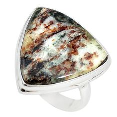 Natural bronze astrophyllite (star leaf) 925 silver ring size 9 m18473