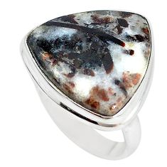 Natural bronze astrophyllite (star leaf) 925 silver ring size 8.5 m18477