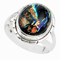 925 sterling silver multi color dichroic glass ring jewelry size 8.5 m19055