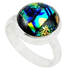 Multi color dichroic glass 925 sterling silver ring jewelry size 9 m19116
