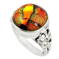 Multi color dichroic glass 925 sterling silver ring jewelry size 7.5 m19167
