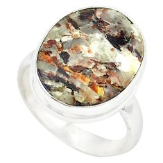 Natural bronze astrophyllite (star leaf) 925 silver ring jewelry size 8 m24825