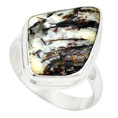 Natural bronze astrophyllite (star leaf) 925 silver ring jewelry size 9.5 m24840