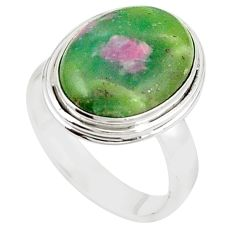 Natural pink ruby in fuchsite 925 sterling silver ring jewelry size 8.5 m26646