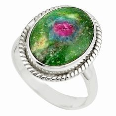 Natural pink ruby in fuchsite 925 sterling silver ring size 8 m26881