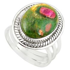 925 sterling silver natural pink ruby in fuchsite oval ring size 8.5 m26884