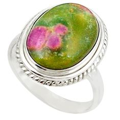 Natural pink ruby in fuchsite 925 sterling silver ring size 8.5 m26888