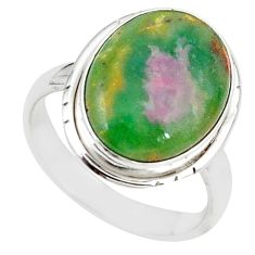 925 sterling silver natural pink ruby in fuchsite ring jewelry size 8 m26889