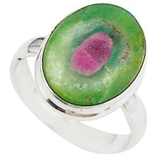 Natural pink ruby in fuchsite 925 sterling silver ring size 7.5 m26892