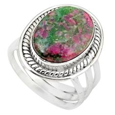 Natural pink ruby in fuchsite 925 sterling silver ring size 8.5 m26895