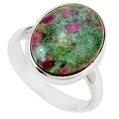 Natural pink ruby in fuchsite 925 sterling silver ring size 8 m26896