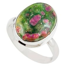 Natural pink ruby in fuchsite 925 sterling silver ring size 8 m26897