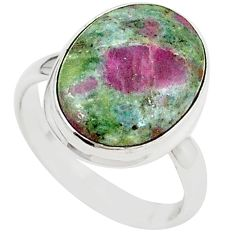 Natural pink ruby in fuchsite 925 sterling silver ring size 7.5 m26899