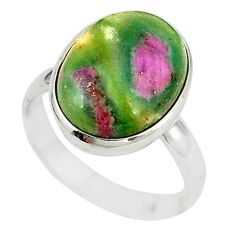 Natural pink ruby in fuchsite 925 sterling silver ring size 8 m26900