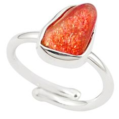 Natural orange sunstone rough 925 silver adjustable ring size 6.5 m28695