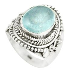 Natural untreated blue topaz 925 sterling silver ring size 6 m33612