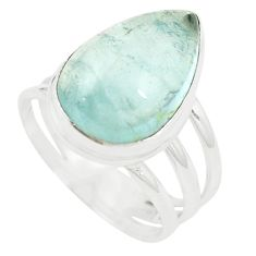 925 sterling silver natural untreated blue topaz pear ring size 9 m33619