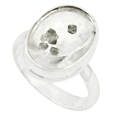 Natural cabs white marcasite in quartz 925 silver ring size 8.5 m33887