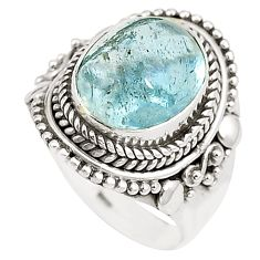 Natural untreated blue topaz 925 sterling silver ring size 8 m33912