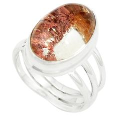 Natural brown scenic lodolite 925 sterling silver ring size 8 m34054