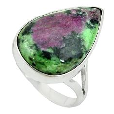 Natural pink ruby zoisite 925 sterling silver solitaire ring size 10 m3505