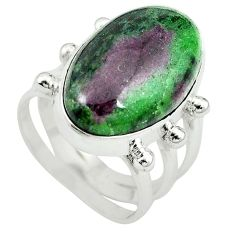 Natural pink ruby zoisite 925 sterling silver solitaire ring size 7.5 m3518