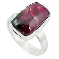 Natural pink ruby zoisite 925 sterling silver solitaire ring size 7.5 m3527